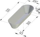 Форма хлебопекарная овальная (литая алюминиевая, 320 х 100 х 60 мм)