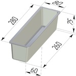 Форма хлебопекарная тостерная (литая алюминиевая, 280 х 80 х 75 мм). Цену уточняйте (т. +375 17 294-03-37, 210-01-48)
