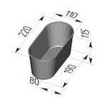 Форма хлебопекарная овальная № 7 (литая алюминиевая, 220 х 110 х 115 мм)